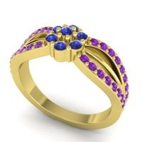 Simple Floral Pave Kalikda Blue Sapphire Ring with Amethyst in 18k Yellow Gold