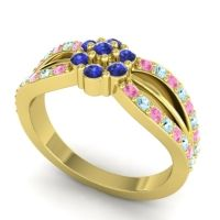 Simple Floral Pave Kalikda Blue Sapphire Ring with Aquamarine and Pink Tourmaline in 14k Yellow Gold