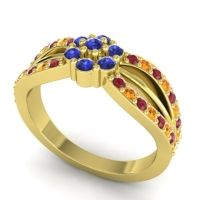 Simple Floral Pave Kalikda Blue Sapphire Ring with Citrine and Ruby in 18k Yellow Gold