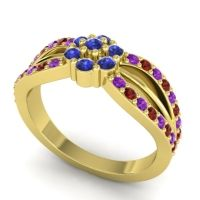 Simple Floral Pave Kalikda Blue Sapphire Ring with Garnet and Amethyst in 18k Yellow Gold