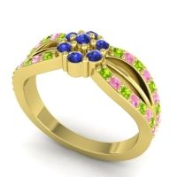 Simple Floral Pave Kalikda Blue Sapphire Ring with Pink Tourmaline and Peridot in 14k Yellow Gold