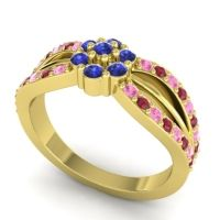 Simple Floral Pave Kalikda Blue Sapphire Ring with Ruby and Pink Tourmaline in 18k Yellow Gold