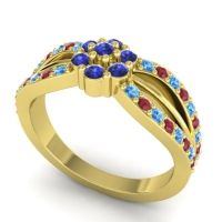 Simple Floral Pave Kalikda Blue Sapphire Ring with Ruby and Swiss Blue Topaz in 18k Yellow Gold