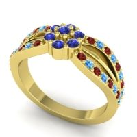Simple Floral Pave Kalikda Blue Sapphire Ring with Swiss Blue Topaz and Garnet in 14k Yellow Gold
