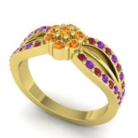 Simple Floral Pave Kalikda Citrine Ring with Amethyst and Ruby in 14k Yellow Gold