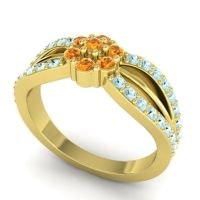 Simple Floral Pave Kalikda Citrine Ring with Aquamarine in 14k Yellow Gold
