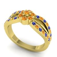 Simple Floral Pave Kalikda Citrine Ring with Blue Sapphire in 18k Yellow Gold