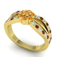 Simple Floral Pave Kalikda Citrine Ring with Garnet and Diamond in 14k Yellow Gold