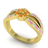 Simple Floral Pave Kalikda Citrine Ring with Pink Tourmaline and Diamond in 14k Yellow Gold