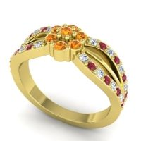Simple Floral Pave Kalikda Citrine Ring with Ruby and Diamond in 18k Yellow Gold