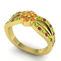 Simple Floral Pave Kalikda Citrine Ring with Ruby and Peridot in 18k Yellow Gold