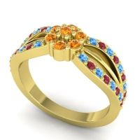 Simple Floral Pave Kalikda Citrine Ring with Ruby and Swiss Blue Topaz in 14k Yellow Gold