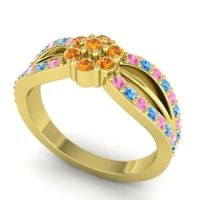 Simple Floral Pave Kalikda Citrine Ring with Swiss Blue Topaz and Pink Tourmaline in 14k Yellow Gold