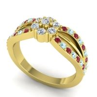 Simple Floral Pave Kalikda Diamond Ring with Aquamarine and Ruby in 14k Yellow Gold
