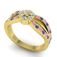 Simple Floral Pave Kalikda Diamond Ring with Blue Sapphire and Pink Tourmaline in 18k Yellow Gold