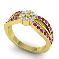 Simple Floral Pave Kalikda Diamond Ring with Garnet and Amethyst in 18k Yellow Gold