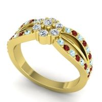 Simple Floral Pave Kalikda Diamond Ring with Garnet and Aquamarine in 18k Yellow Gold