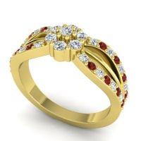 Simple Floral Pave Kalikda Diamond Ring with Garnet in 14k Yellow Gold