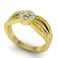 Simple Floral Pave Kalikda Diamond Ring with Pink Tourmaline and Peridot in 14k Yellow Gold