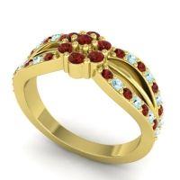 Simple Floral Pave Kalikda Garnet Ring with Aquamarine in 18k Yellow Gold