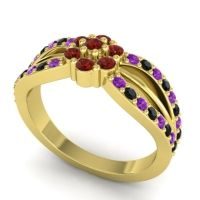 Simple Floral Pave Kalikda Garnet Ring with Black Onyx and Amethyst in 14k Yellow Gold