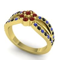 Simple Floral Pave Kalikda Garnet Ring with Black Onyx and Blue Sapphire in 14k Yellow Gold