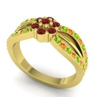 Simple Floral Pave Kalikda Garnet Ring with Citrine and Peridot in 18k Yellow Gold