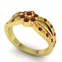 Simple Floral Pave Kalikda Garnet Ring with Citrine in 14k Yellow Gold