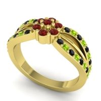 Simple Floral Pave Kalikda Garnet Ring with Peridot and Black Onyx in 14k Yellow Gold