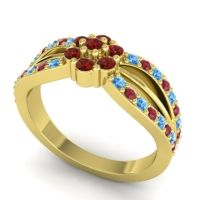 Simple Floral Pave Kalikda Garnet Ring with Ruby and Swiss Blue Topaz in 14k Yellow Gold