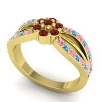 Simple Floral Pave Kalikda Garnet Ring with Swiss Blue Topaz and Pink Tourmaline in 18k Yellow Gold
