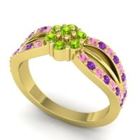 Simple Floral Pave Kalikda Peridot Ring with Amethyst and Pink Tourmaline in 14k Yellow Gold