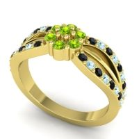 Simple Floral Pave Kalikda Peridot Ring with Aquamarine and Black Onyx in 18k Yellow Gold