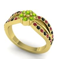 Simple Floral Pave Kalikda Peridot Ring with Black Onyx and Ruby in 18k Yellow Gold