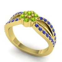 Simple Floral Pave Kalikda Peridot Ring with Blue Sapphire in 18k Yellow Gold