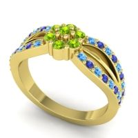 Simple Floral Pave Kalikda Peridot Ring with Blue Sapphire and Swiss Blue Topaz in 18k Yellow Gold
