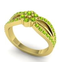 Simple Floral Pave Kalikda Peridot Ring in 14k Yellow Gold