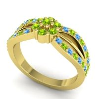 Simple Floral Pave Kalikda Peridot Ring with Swiss Blue Topaz in 18k Yellow Gold