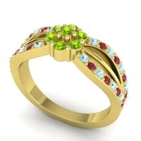 Simple Floral Pave Kalikda Peridot Ring with Ruby and Aquamarine in 18k Yellow Gold