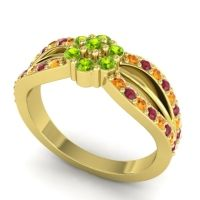 Simple Floral Pave Kalikda Peridot Ring with Ruby and Citrine in 18k Yellow Gold