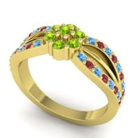 Simple Floral Pave Kalikda Peridot Ring with Ruby and Swiss Blue Topaz in 18k Yellow Gold