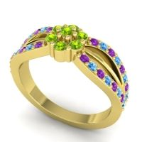 Simple Floral Pave Kalikda Peridot Ring with Swiss Blue Topaz and Amethyst in 18k Yellow Gold