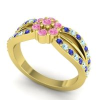 Simple Floral Pave Kalikda Pink Tourmaline Ring with Aquamarine and Blue Sapphire in 18k Yellow Gold