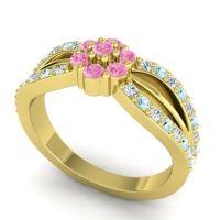 Simple Floral Pave Kalikda Pink Tourmaline Ring with Aquamarine and Diamond in 14k Yellow Gold