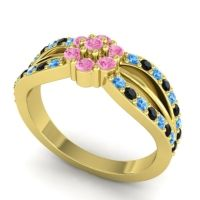 Simple Floral Pave Kalikda Pink Tourmaline Ring with Black Onyx and Swiss Blue Topaz in 14k Yellow Gold