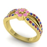 Simple Floral Pave Kalikda Pink Tourmaline Ring with Ruby and Blue Sapphire in 14k Yellow Gold