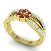 Simple Floral Pave Kalikda Ruby Ring with Aquamarine in 14k Yellow Gold
