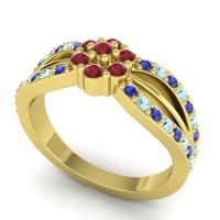 Simple Floral Pave Kalikda Ruby Ring with Aquamarine and Blue Sapphire in 18k Yellow Gold