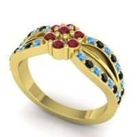 Simple Floral Pave Kalikda Ruby Ring with Black Onyx and Swiss Blue Topaz in 18k Yellow Gold