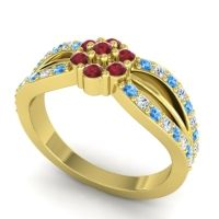 Simple Floral Pave Kalikda Ruby Ring with Diamond and Swiss Blue Topaz in 18k Yellow Gold